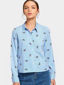 Botón Encima De La Camisa Rayada Impresión Del Pájaro - Azul Claro M