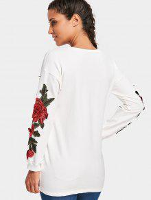 Palangre Del Applique Del Blanco S Camiseta Ww1YnHtgxq
