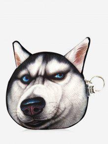 3d مضحك الكلب نمط عملة محفظة - أسود