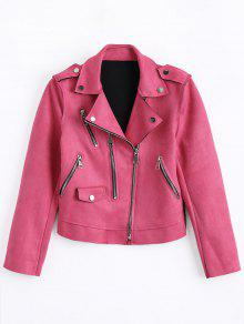 Cropped Zip Up Faux Suede Moto Jacket - Rose L