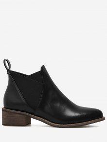 بو الجلود مطاطا باند الكاحل الأحذية - أسود 35