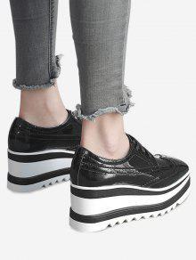 Zapatos De Costura De La Cuña Del Wingtip - Negro 38