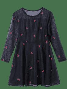 See Thru Embroidered A Line Overlay Dress