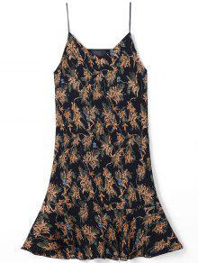 Drop Cintura Spaghetti Plisado Vestido Impreso Plisado - L