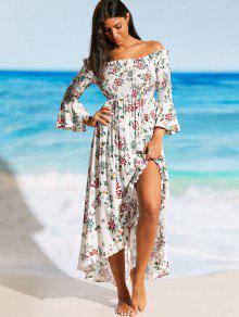 الشق قبالة الكتف الزهور شاطئ فستان ماكسي - الأزهار M