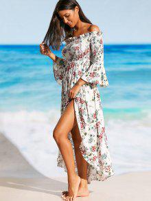 schulterfreies maxi kleid am strand mit schlitz und blumen blumen beach dresses m zaful. Black Bedroom Furniture Sets. Home Design Ideas