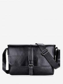 بو الجلود مشبك حزام حقيبة كروسبودي - أسود