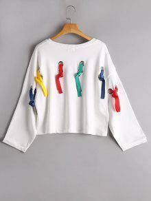 Camiseta Embellecida De La Letra - Blanco