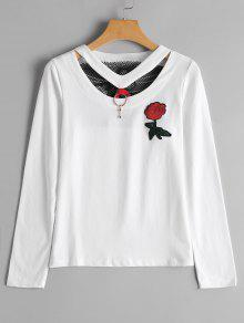 Camiseta Floral Remendada Del Panel Del Fishnet Patched - Blanco M
