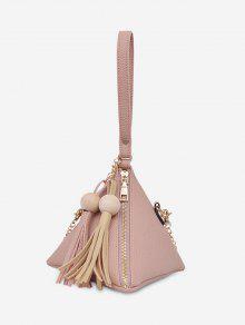 حقيبة توتي مزينة بشرابات على شكل هرم - زهري