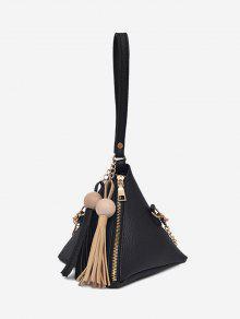 هندسية ستيريو مثلث شرابة حمل حقيبة - أسود