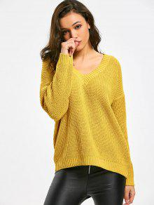 Oversized V Neck Pullover Sweater YELLOW: Sweaters ONE SIZE | ZAFUL