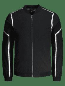 Chaqueta Negro Bordada 2xl Bordada Zipper Chaqueta 4d66qw