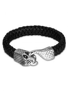 Brazalete De Piel De Imitación Brazalete De Serpiente Vintage - Negro