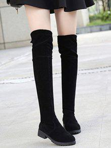 2019 Tie Back Low Heel Thigh High Boots In BLACK 37  70a0249ae