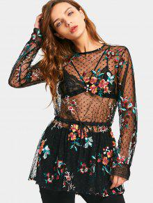 Floral Embroidered Ruffles See Thru Blouse