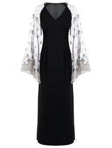 شير الخامس الرقبة مضيئة كم فستان ماكسي - أسود L
