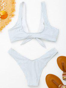 6edbe6d55ae5f 31% OFF] [HOT] 2019 Front Tie Thong Plaid Bikini Set In GREY AND ...