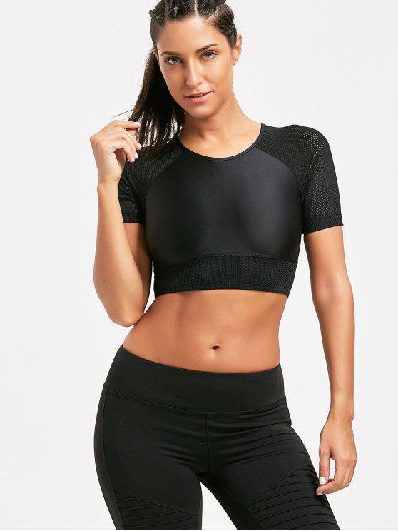 42% OFF  2019 Sports Mesh Insert Raglan Crop T-shirt In BLACK L  410999df2