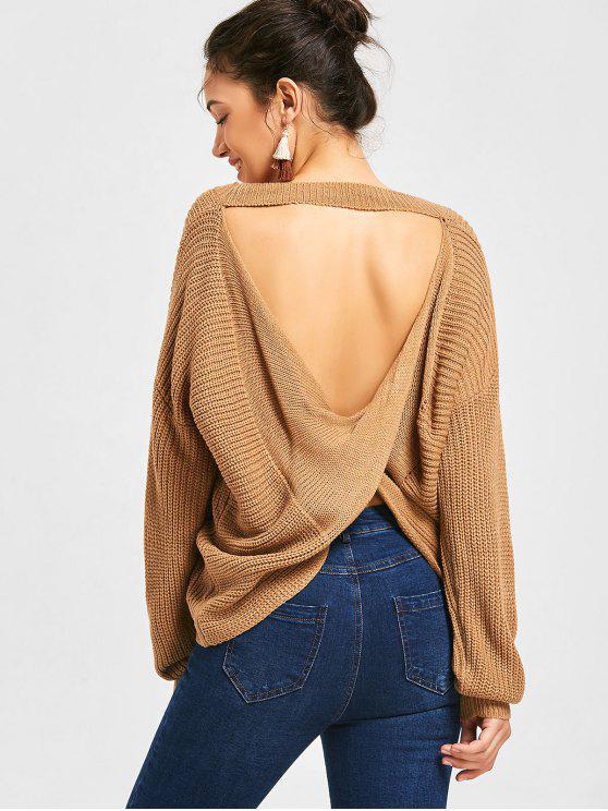 lady Drop Shoulder Twist Cut Out Sweater - DARK KHAKI ONE SIZE
