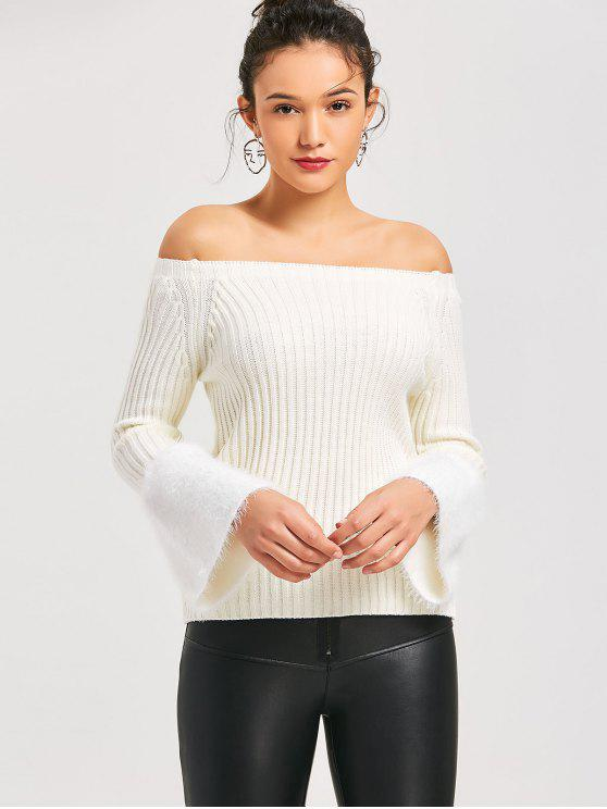 2019 Fuzzy Flare Sleeve Off Shoulder Sweater In White One Size Zaful