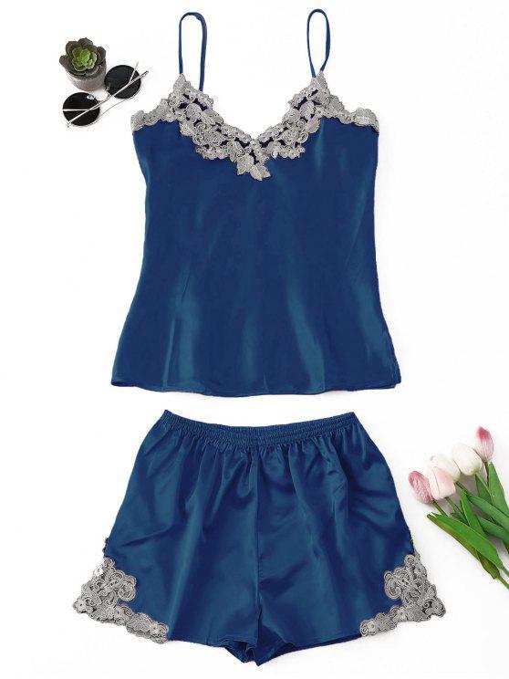Ensemble Pyjama en Satin Applique - Bleu XL