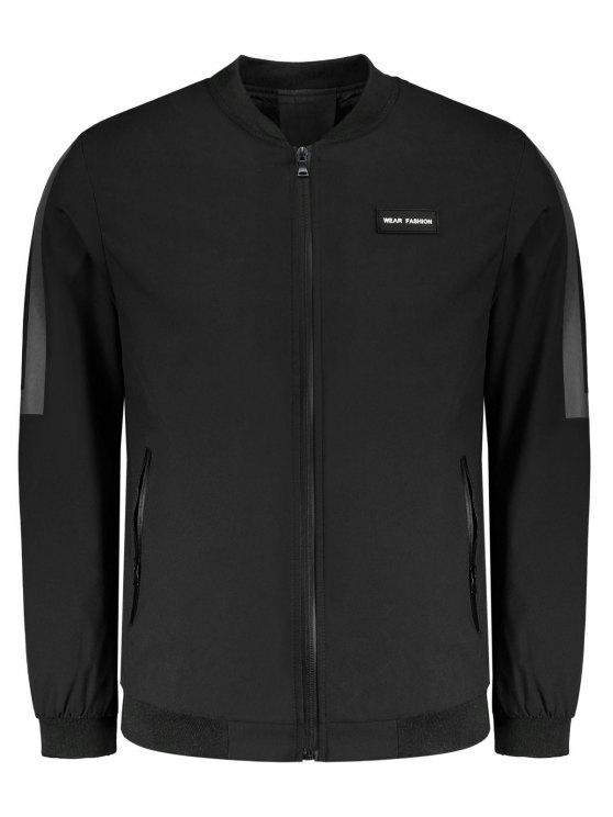 Jacke mit Patch Design und Taschen - Schwarz 4XL