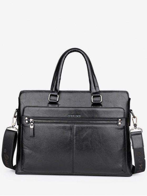new PU Leather Top Handle Handbag - BLACK