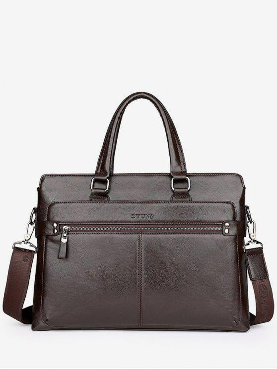 hot PU Leather Top Handle Handbag - BROWN