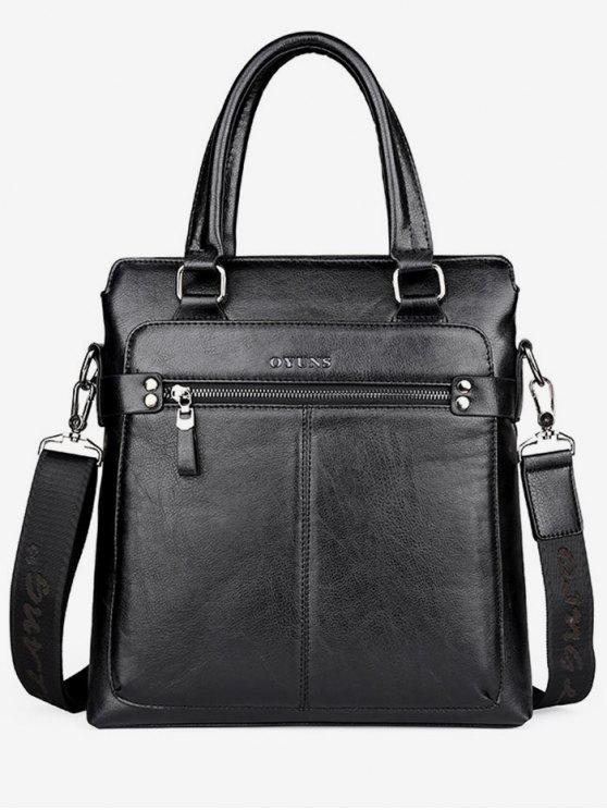 ladies Zip Faux Leather Crossbody Bag With Handle - BLACK