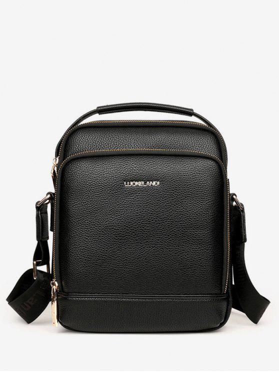 women PU Leather Embossed Zip Crossbody Bag - BLACK