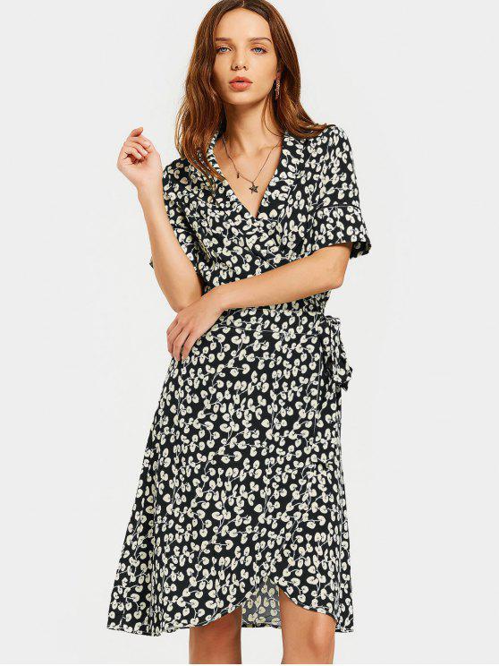 فستان لف طباعة شاطئ انقسام - أسود L