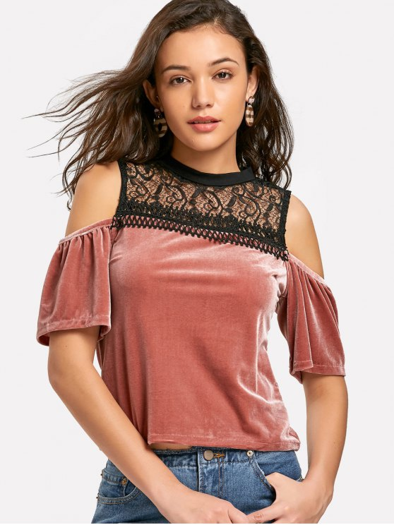 affordable Lace Panel Cold Shoulder Velvet Top - RUSSET-RED L