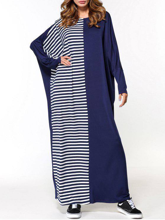 فستان ماكسي الحجم الكبير مخطط - الأرجواني الأزرق مقاس واحد