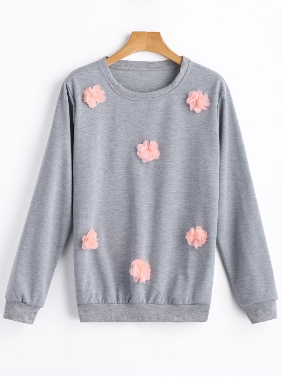 outfits Pullover Floral Applique Sweatshirt - GRAY M