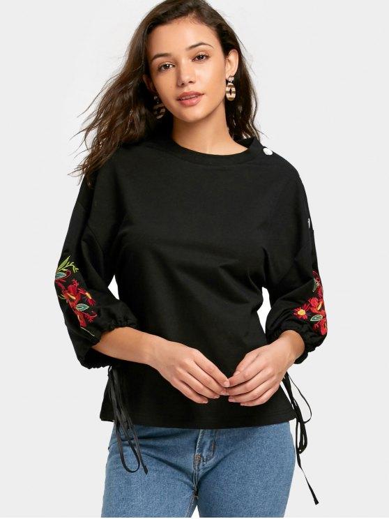 fashion Buttoned Shoulder Floral Embroidered Sweatshirt - BLACK L