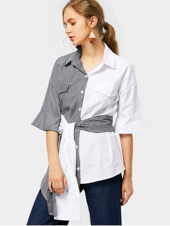 best Contrast Asymmetric Striped Belted Shirt - STRIPE S