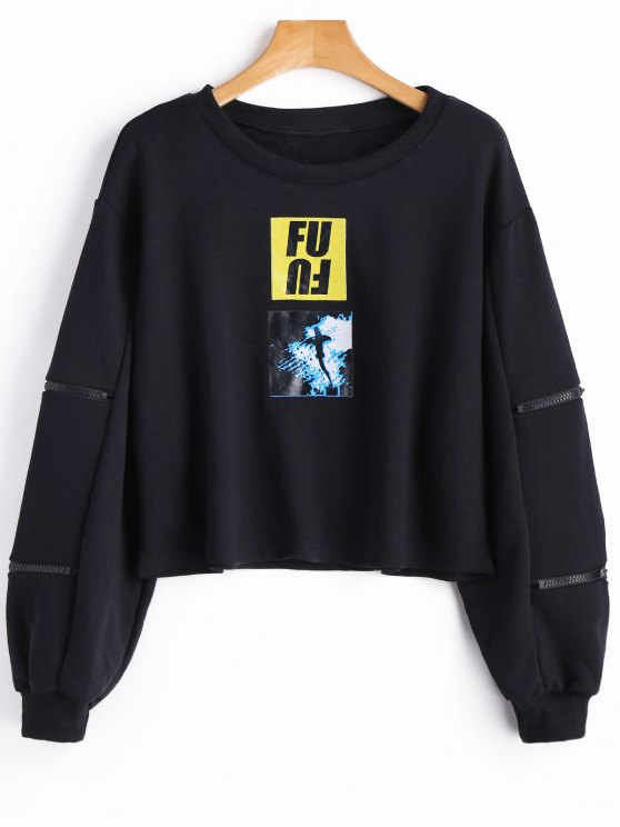 Sweat-shirt à Motif à Manches Zippées - Noir S