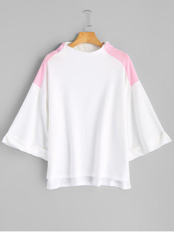 Sweat-shirt Contrastant à Manches Roulottées - Blanc M