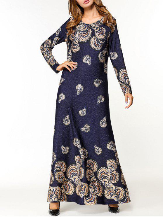 فستان طباعة الأزهار طويلة الأكمام ماكسي - الأرجواني الأزرق M