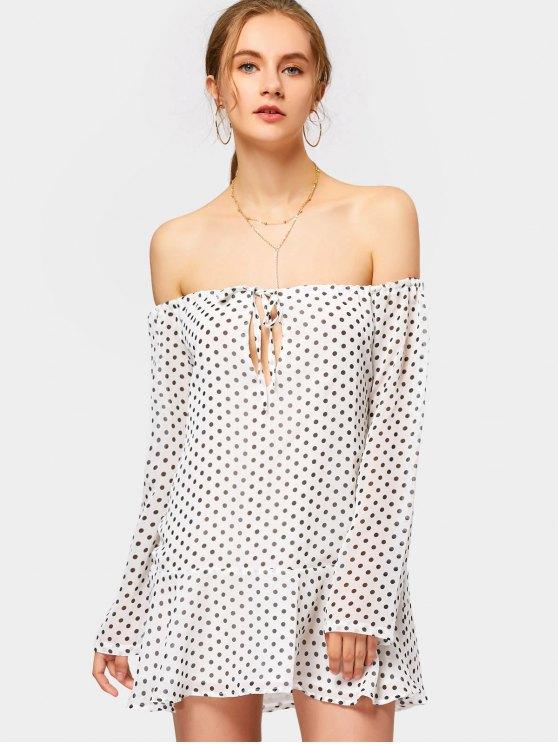 فستان مصغر البولكا نقطة بلا اكتاف - أبيض S