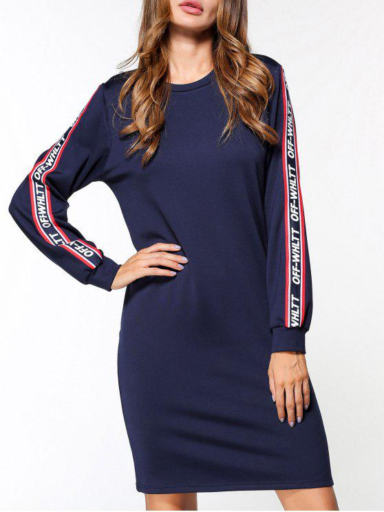 latest Fleece Off Whltt Graphic Sweatshirt Dress - BLUE XL