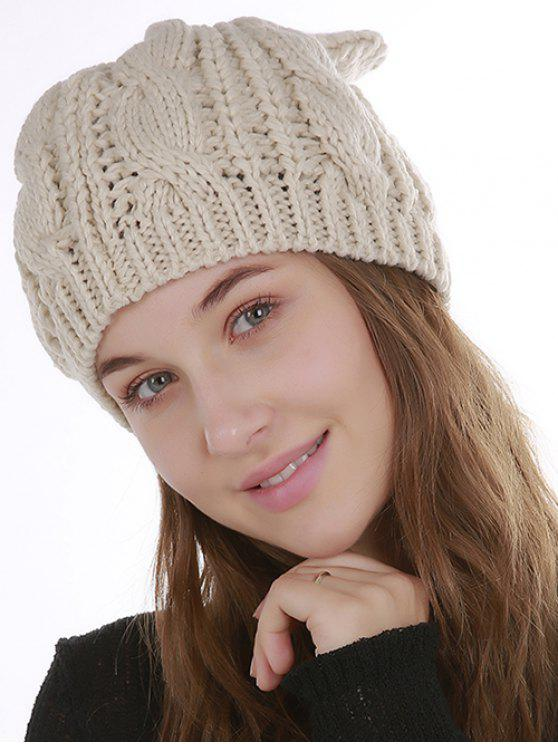 trendy Halloween Cat Ear Decorated Slouchy Knit Beanie - BEIGE