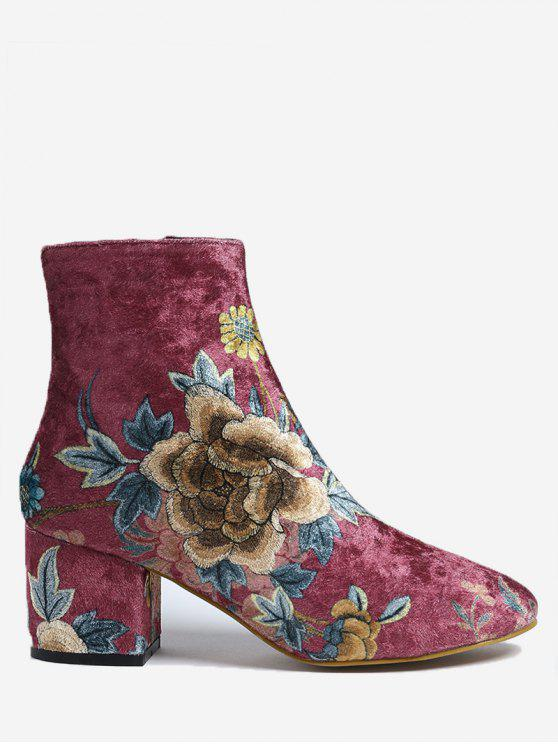 affordable Floral Chunky Heel Ankle Boots - RED 38