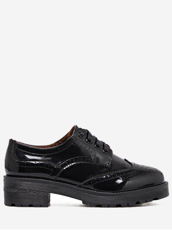 womens Wingtip Contrast Color Brogues Flat Shoes - BLACK 34