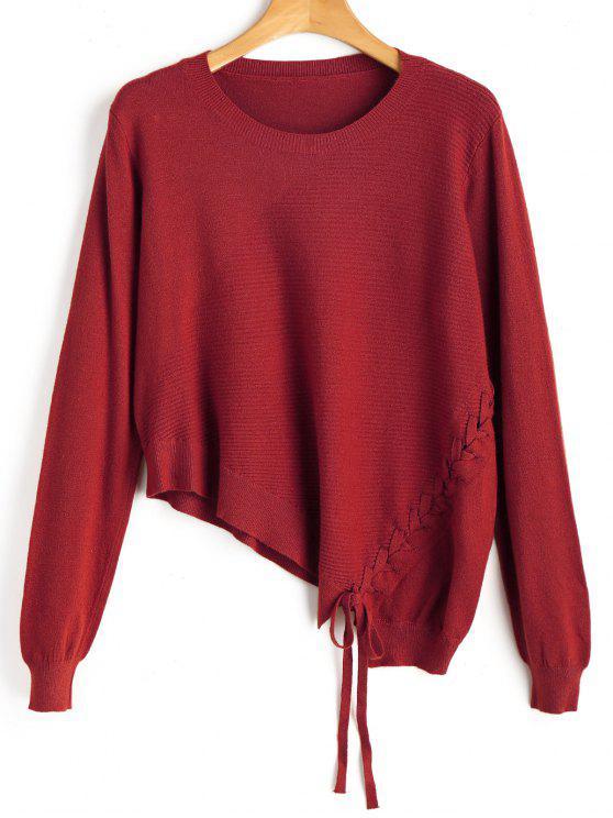 women Asymmetric Lace Up Knitwear - RED ONE SIZE