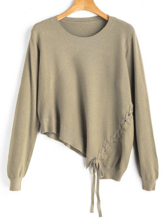 online Asymmetric Lace Up Knitwear - CAMEL ONE SIZE