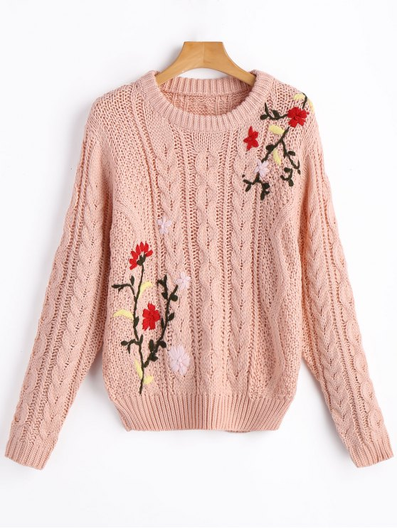 outfit Jacquard Chunky Sweater - SHALLOW PINK ONE SIZE