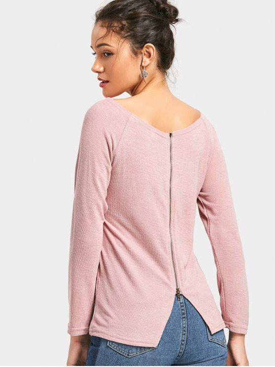 unique Boat Neck Back Zipper Knitted Top - PINK M