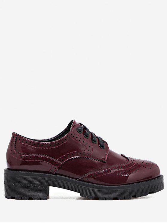 women Wingtip Contrast Color Brogues Flat Shoes - WINE RED 40